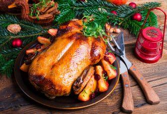 Fresh Roast Duck on Christmas table setting