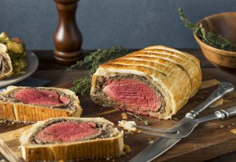 beef wellington cooked and sliced