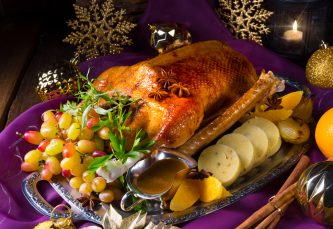 Cooked Christmas Goose with gravy