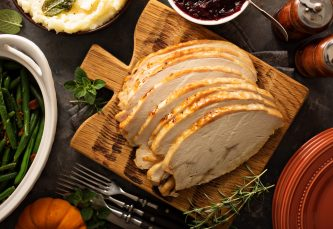 Cooked sliced roast turkey breast joint