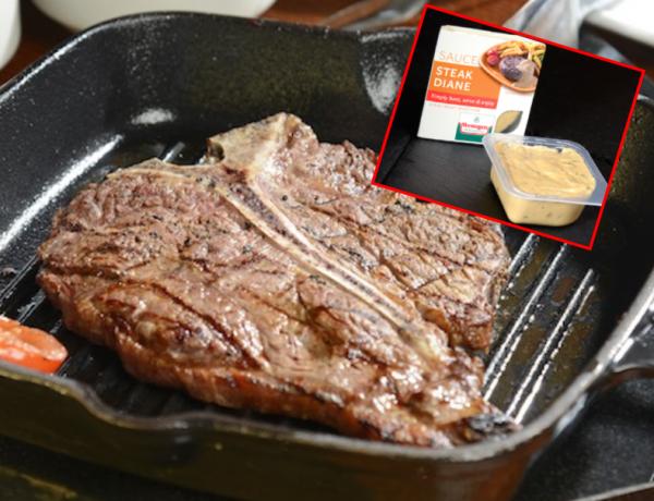 t bone steak with steak sauce