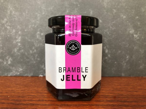 Galloway lodge bramble jelly in glass jar on table