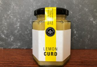 galloway lodge lemon curd in glass jar on table