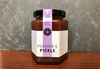 galloway lodge poachers pickle chutney in glas jar on table