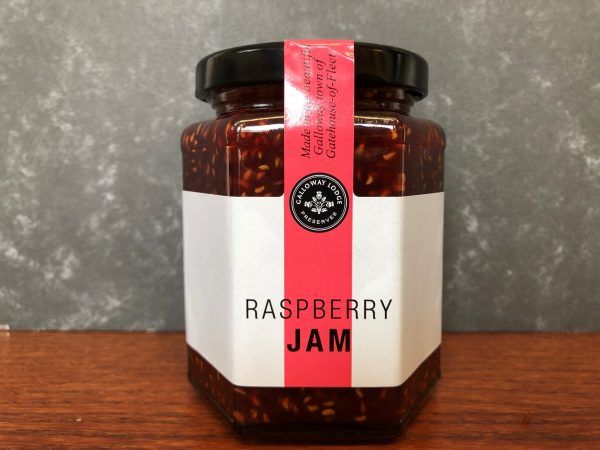 galloway lodge raspberry jam in glass jar on table